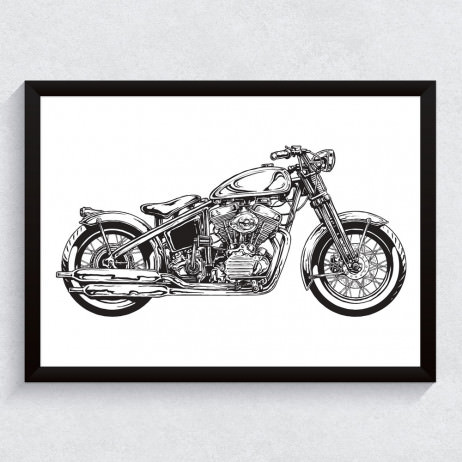 Quadro Decorativo Motocicleta Vintage Harley Davidson
