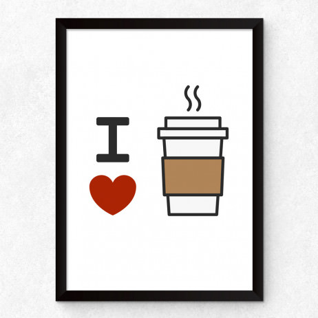Quadro Decorativo I Love Coffe (Minimalista)