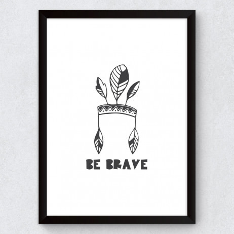 Quadro Decorativo Infantil Cocar Be Brave