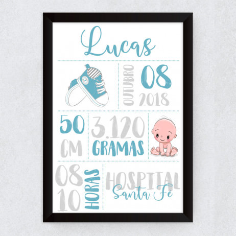 Quadro Decorativo Infantil Nascimento Azul