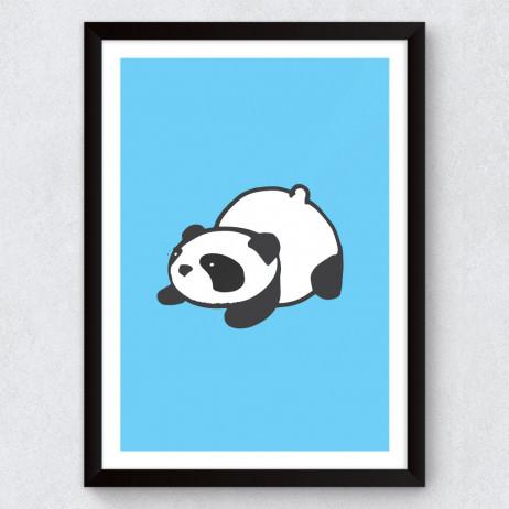 Quadro Decorativo Infantil Panda (Fundo Azul)