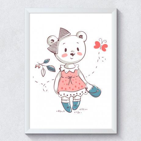 Quadro Decorativo Infantil Ursinha Borboleta