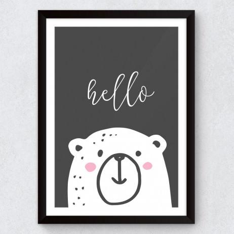"Quadro Decorativo Infantil Urso Polar ""Hello"""
