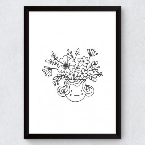 Quadro Decorativo Infantil Vaso de Flores