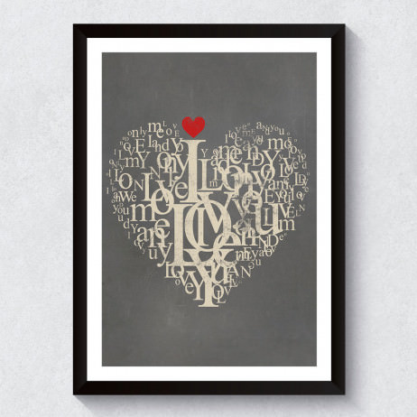 Quadro Decorativo Love Tipografia