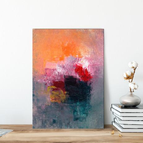 Quadro Decorativo Pintura Abstrata Mancha de Tinta - Em Canvas