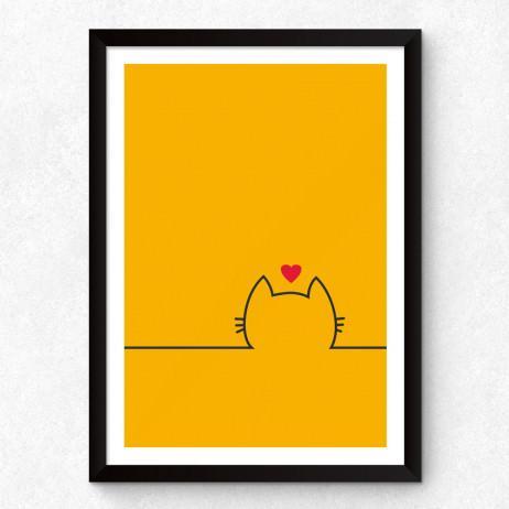 Quadro Decorativo Minimalista Gato