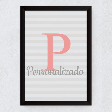 Quadro Decorativo Infantil Nome Personalizado Inicial Rosa