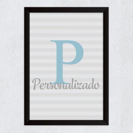 Quadro Decorativo Infantil Nome Personalizado Inicial Azul