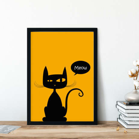 Quadro Decorativo Gato Meow