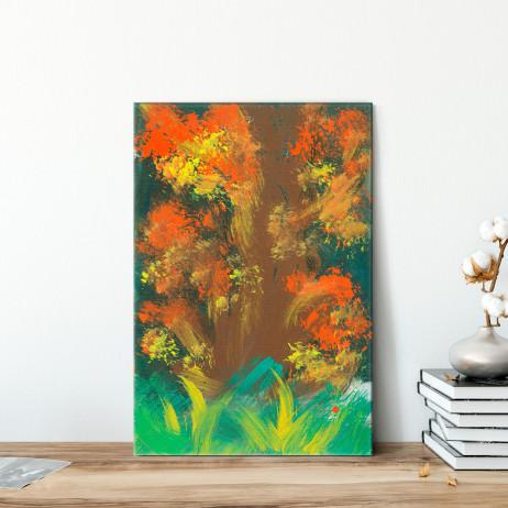 Quadro Decorativo Pintura Abstrata Árvore Outono - Em Canvas