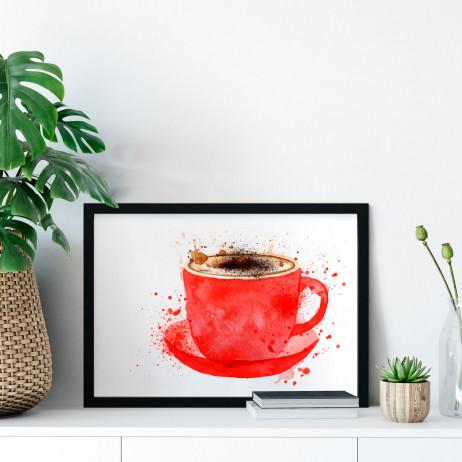 Quadro Decorativo Xícara de Café Aquarela