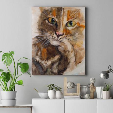 Quadro Decorativo Pintura Gato - Em Canvas