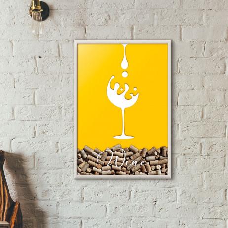 Quadro Porta Rolhas de Vinho - Taça de Vinho (Moldura Branca)