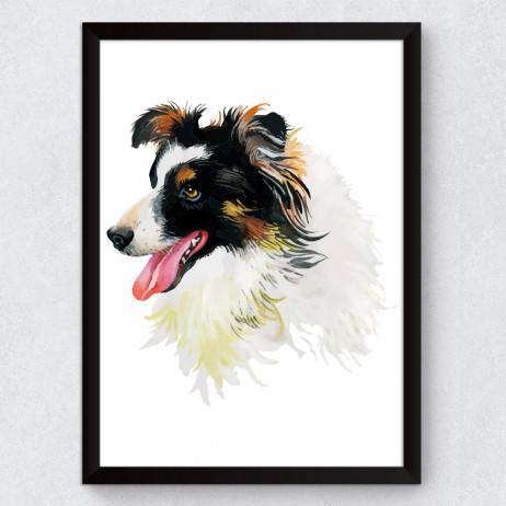 Quadro Decorativo Border Collie Aquarela