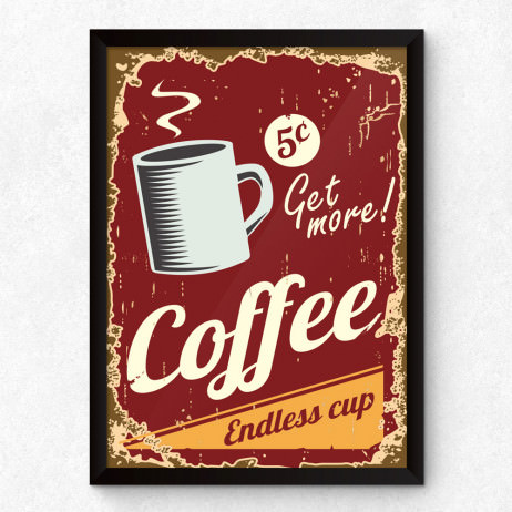 Quadro Decorativo Retro Coffe