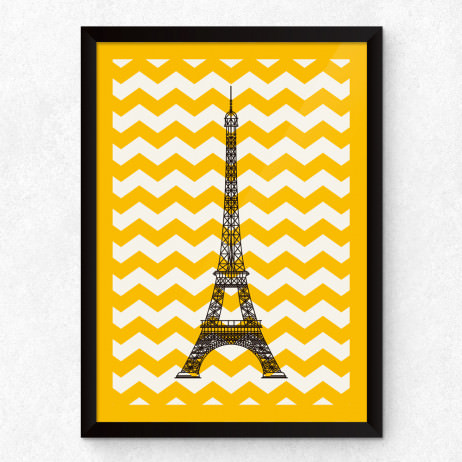 Quadro Decorativo Torre Eiffel (Chevron)