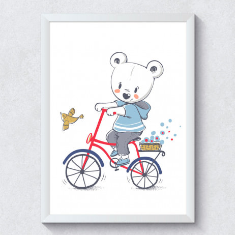 Quadro Decorativo Infantil Ursinho Bicicleta