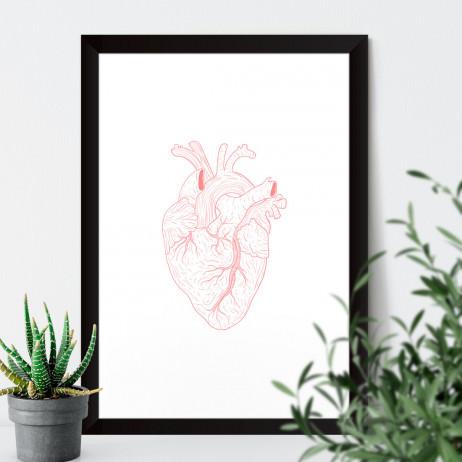 Quadro Decorativo Coração Humano Rosa