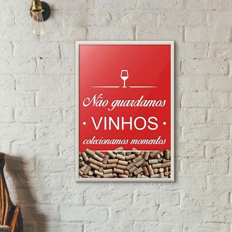Quadro Porta Rolhas de Vinho - Colecionamos Momentos (Moldura Branca)