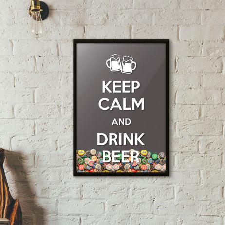 """Quadro Porta Tampinhas de Cerveja - """"Keep Calm And Drink Beer"""" (Moldura Preta)"""