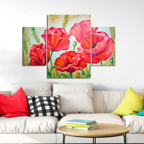 Conjunto de Quadros Decorativos Assimétrico Papoulas - Em Canvas