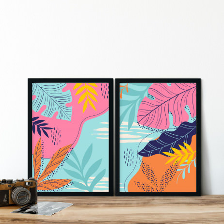 Conjunto de Quadros Decorativos Topical Folhas e Cores
