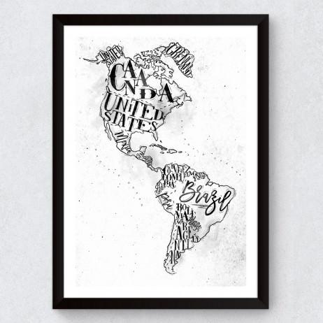 Quadro Decorativo Mapa Mundi Retrô (América)