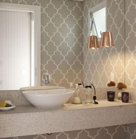 Banheiro Decorado com Papel de Parede